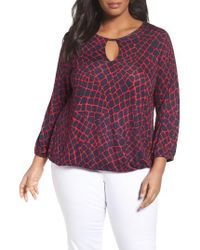 MICHAEL Michael Kors | Red Nyla Print Peasant Top | Lyst