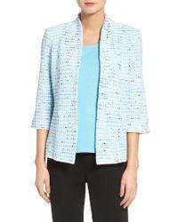 Ming Wang | Blue Tweed Stripe Jacket | Lyst