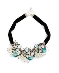 TOPSHOP | Black Flower Necklace | Lyst