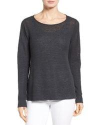 Eileen Fisher | Gray Bateau Neck Organic Linen Sweater | Lyst
