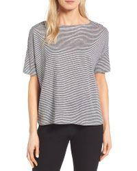 Eileen Fisher | Gray Stripe Boxy Organic Linen Top | Lyst