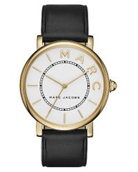 Marc By Marc Jacobs | Metallic Marc Jacobs Roxy Leather Strap Watch | Lyst
