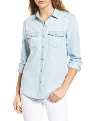Caslon   Blue Caslon Chambray Shirt   Lyst