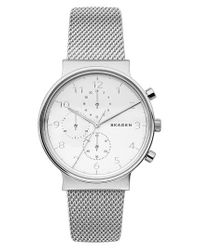 Skagen | Metallic Ancher Multifunction Mesh Strap Watch for Men | Lyst