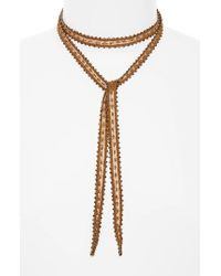 Chan Luu | Natural Beaded Chiffon Tie Necklace | Lyst