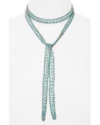 Chan Luu | Blue Beaded Chiffon Tie Necklace | Lyst