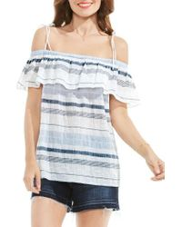 b4b0cb83a1af7 Lyst - Two By Vince Camuto Pucker Stripe Off The Shoulder Blouse in ...