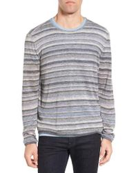 John Varvatos - Gray Multi Stripe Cotton Sweater for Men - Lyst