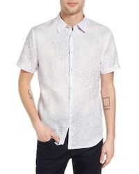 John Varvatos | Purple Slim Fit Print Linen Sport Shirt for Men | Lyst
