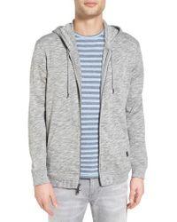 John Varvatos   Gray Melange Cotton Zip Front Hoodie for Men   Lyst