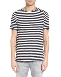 John Varvatos | Blue Stripe T-shirt for Men | Lyst