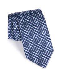 Ferragamo | Blue Bow Print Silk Tie for Men | Lyst