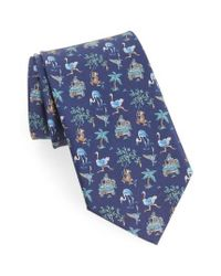 Ferragamo | Blue Safari Print Silk Tie for Men | Lyst