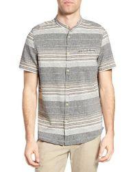 Jeremiah | Gray Houghton Stripe Linen Blend Band Collar Shirt for Men | Lyst