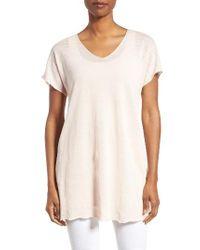 Eileen Fisher | White Linen Blend V-neck Knit Tunic | Lyst