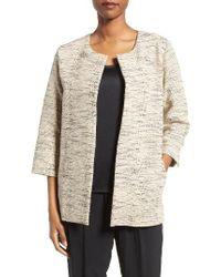 Eileen Fisher | Natural Cotton Blend Round Neck Jacket | Lyst