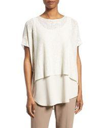 Eileen Fisher | Natural Hemp Blend Boxy Sweater | Lyst