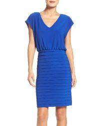Adrianna Papell | Blue Banded Sheath Dress | Lyst