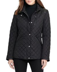 Lauren by Ralph Lauren | Black Faux Leather Trim Quilted Jacket | Lyst