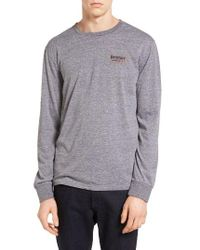 Brixton   Gray Palmer Graphic Long Sleeve T-shirt for Men   Lyst