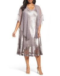 Komarov   Multicolor Lace Inset Dress & Shawl   Lyst