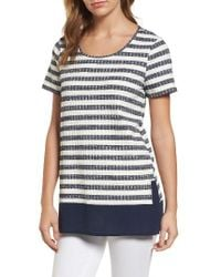 Chaus - Blue Jasper Stripe Mixed Media Top - Lyst