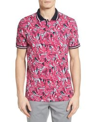 Ted Baker | Pink Legolf Leaf Print Golf Polo for Men | Lyst