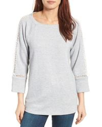Caslon | Gray Caslon Lace Inset Sweatshirt | Lyst