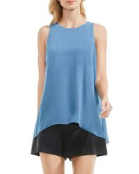 Vince Camuto - Blue Back Pleat Blouse - Lyst