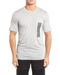 Adidas Originals | Gray 3-stripes Pocket T-shirt for Men | Lyst