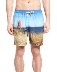 Barbour | Blue Beacon Print Swim Trunks for Men | Lyst