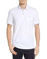 Ted Baker | White Clay Textured Collar Polo for Men | Lyst