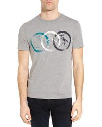 Original Penguin | Gray Treble Circle Graphic T-shirt for Men | Lyst