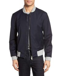 Eleventy - Blue Water Resistant Wool Bomber Jacket for Men - Lyst