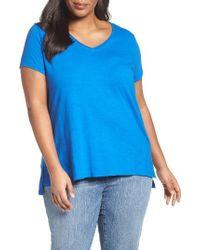 Eileen Fisher | Blue V-neck Slub Organic Cotton Tee | Lyst