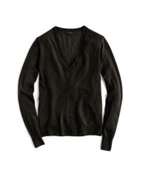 J.Crew | Black V-neck Italian Featherweight Cashmere Sweater | Lyst