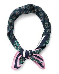 J.Crew - Blue Issac Foulard Print Italian Silk Scarf - Lyst