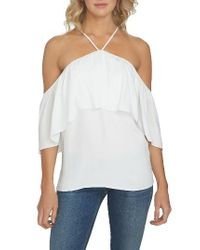 1.STATE   White 1. State Halter Neck Ruffle Blouse   Lyst