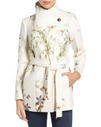 Ted Baker | White Spring Meadow Wool Blend Wrap Coat | Lyst