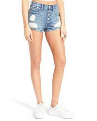 Vigoss - Blue High Waist Button Front Denim Shorts - Lyst