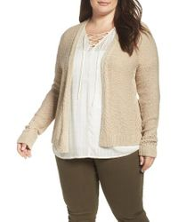 Lucky Brand | Natural Open Stitch Open Front Cardigan | Lyst