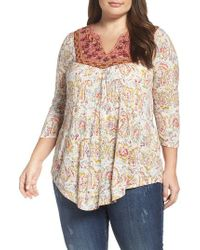 Lucky Brand   Natural Embroidered Bib Top   Lyst