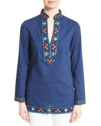 Tory Burch | Blue Embellished Tory Tunic | Lyst