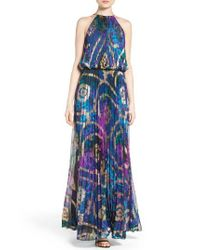 Xscape | Blue Pleated Blouson Gown | Lyst
