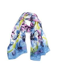 Vince Camuto | Blue Brushed Blooms Silk Scarf | Lyst