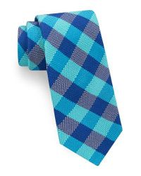 Ted Baker   Blue Derby Check Silk Tie for Men   Lyst