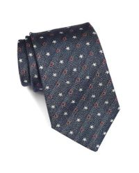 John Varvatos | Blue Star Print Silk Tie for Men | Lyst