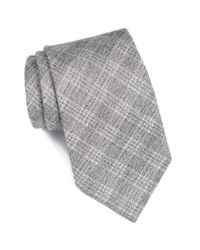 John Varvatos | Gray Plaid Cotton & Silk Tie for Men | Lyst