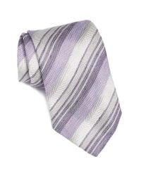 John Varvatos | Purple Stripe Silk & Linen Tie for Men | Lyst