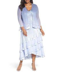 Komarov - Blue Tiered A-line Dress With Jacket - Lyst